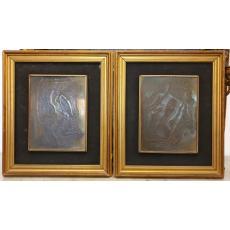 """Mac Constantinescu, (1900-1979) """"Adam si Eva"""", lucrări pandant, aramă ciocănit, 22 x 17 cm, 1962"""