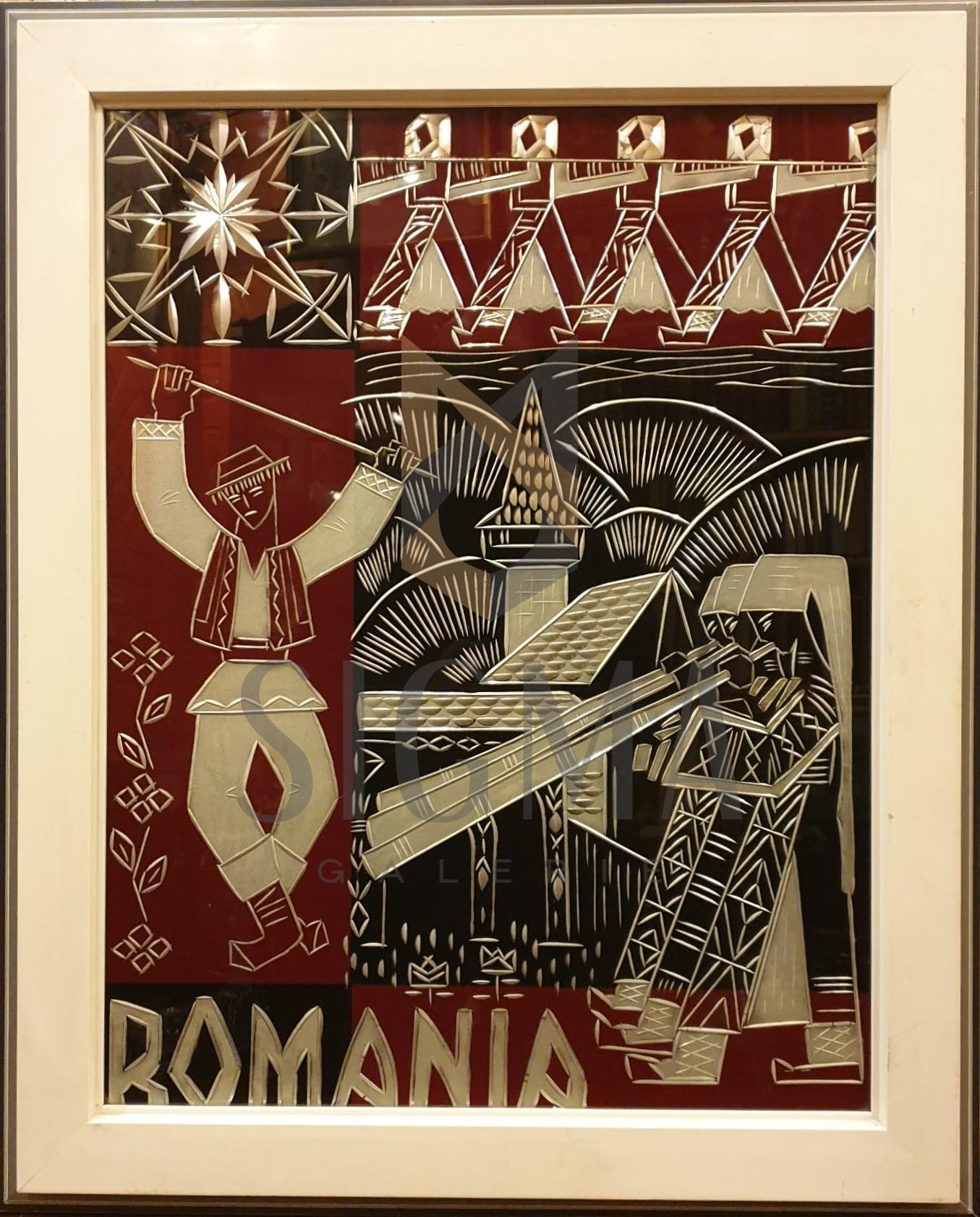 TABLOU, ROMANIA , PROPAGANDA, COLAJ ,  INTARSII  ALUMINIU
