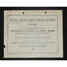 """INVITATIE , LICEUL """" PETRU MAIOR """" GHERLA LA DEZVELIREA BUSTULUI -PETRU MAIOR, 1936"""