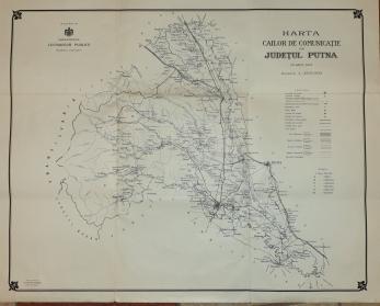 JUDETUL PUTNA ( VRANCEA ) HARTA CAILOR DE COMUNICATIE , 1911