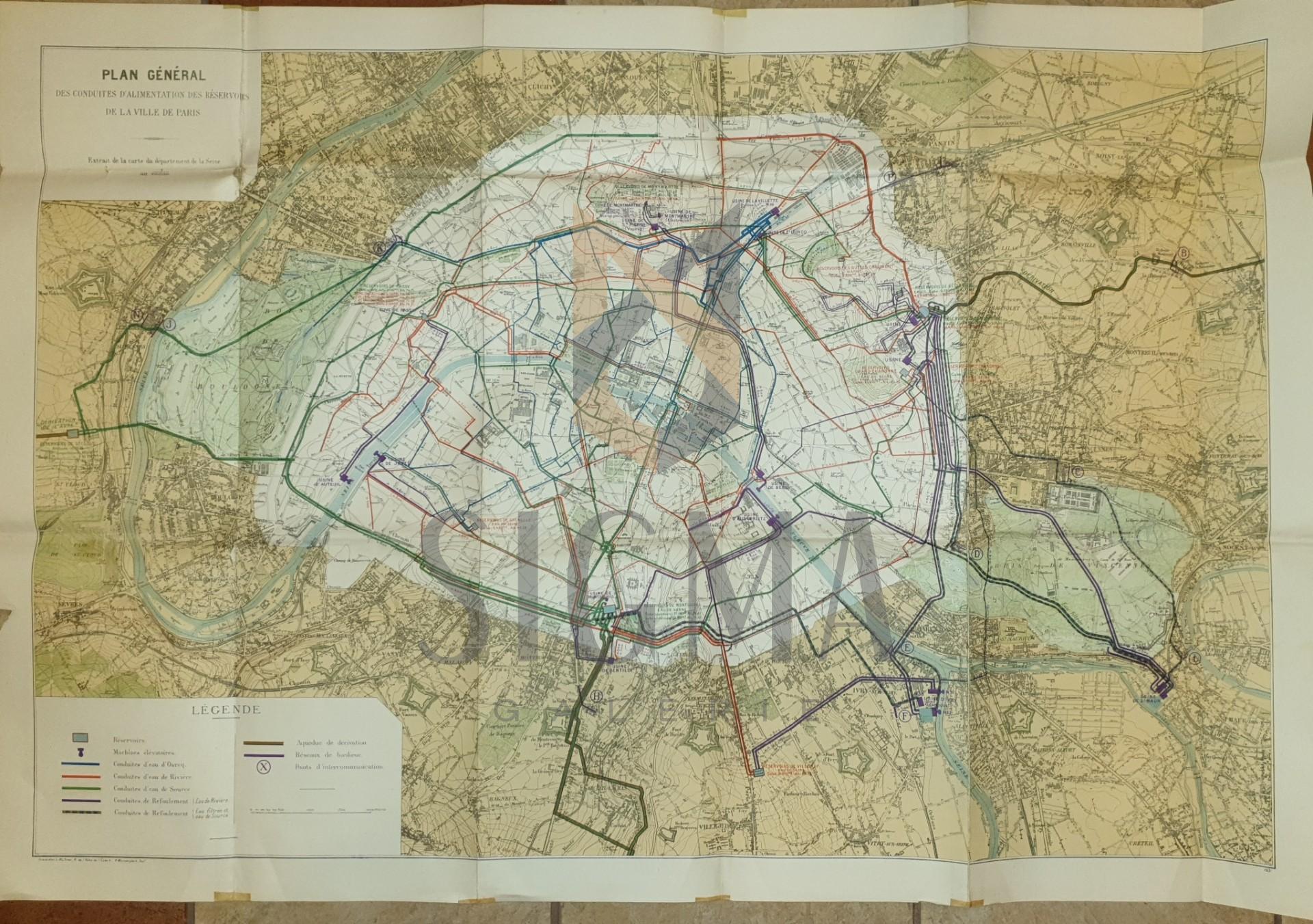 HARTA PARIS , PLAN GENERAL DES CONDUITES D ' ALIMENTATION DES RESERVOIRS DE LA VILLE , 75 X 110 CM