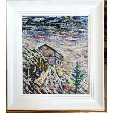 "Tablou, M. Dumitrascu, ""Peisaj"", ulei pe carton, dim: 39x33 cm"