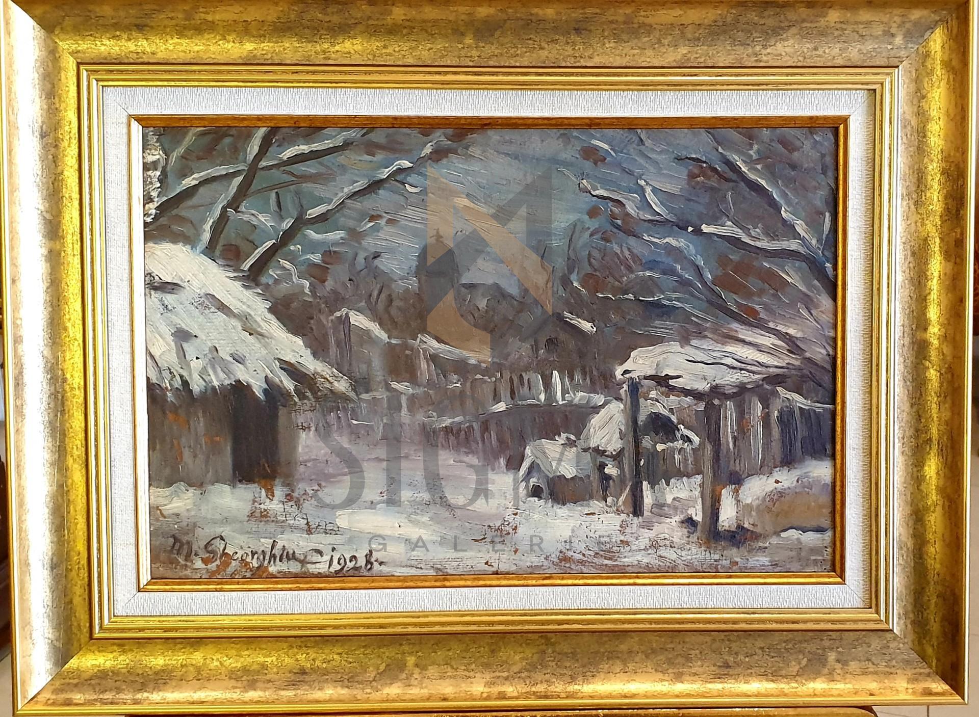 """Tablou, M. Gheorghiu, """"Iarna"""" ulei pe carton datat 1928, dim: 30x45 cm"""