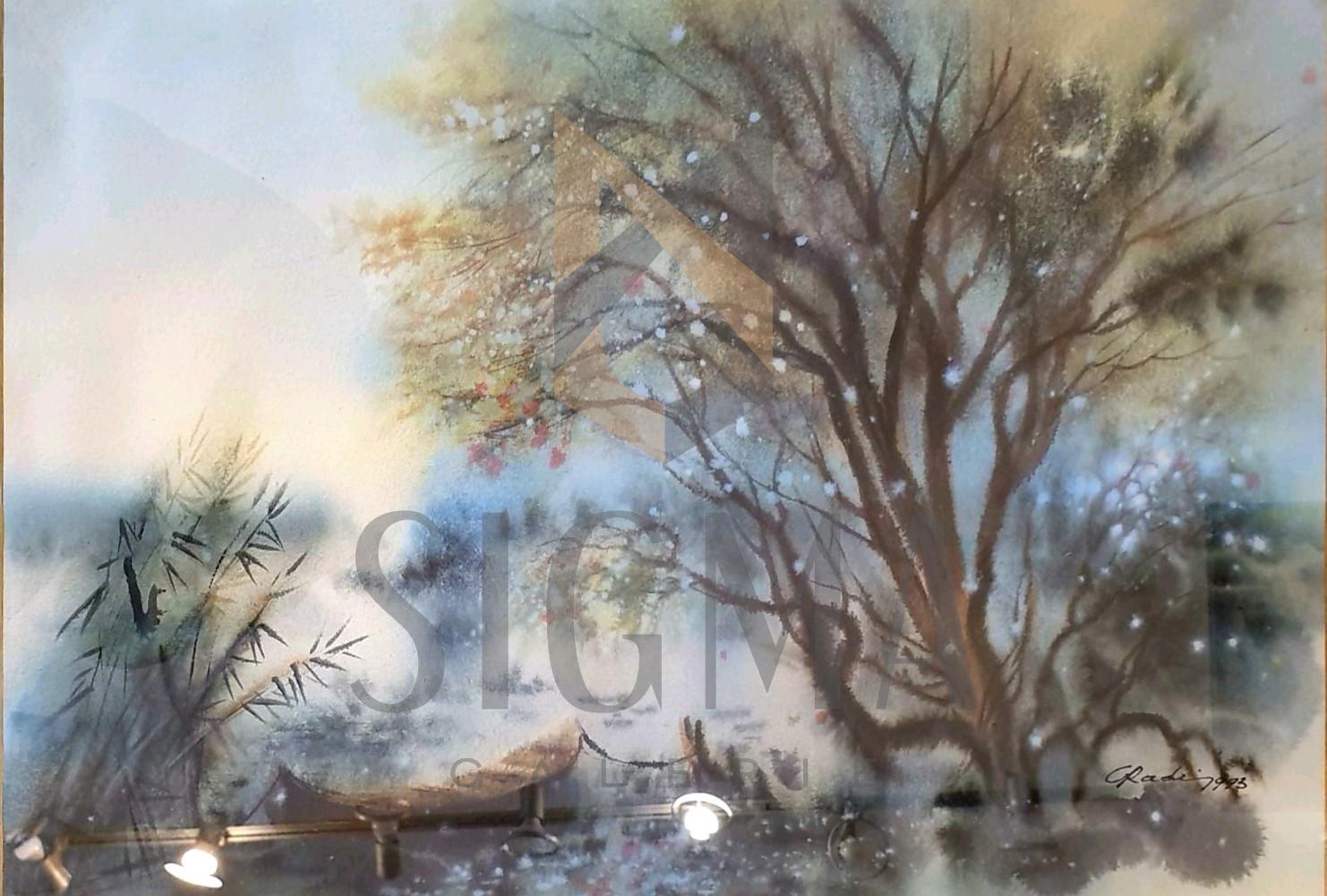 "Tablou, Lucian Cristian Radi (N. 1954 Craiova), ""Peisaj din delta"", tehnica mixta, acuarela pe hartie, dim: 35x50 cm"