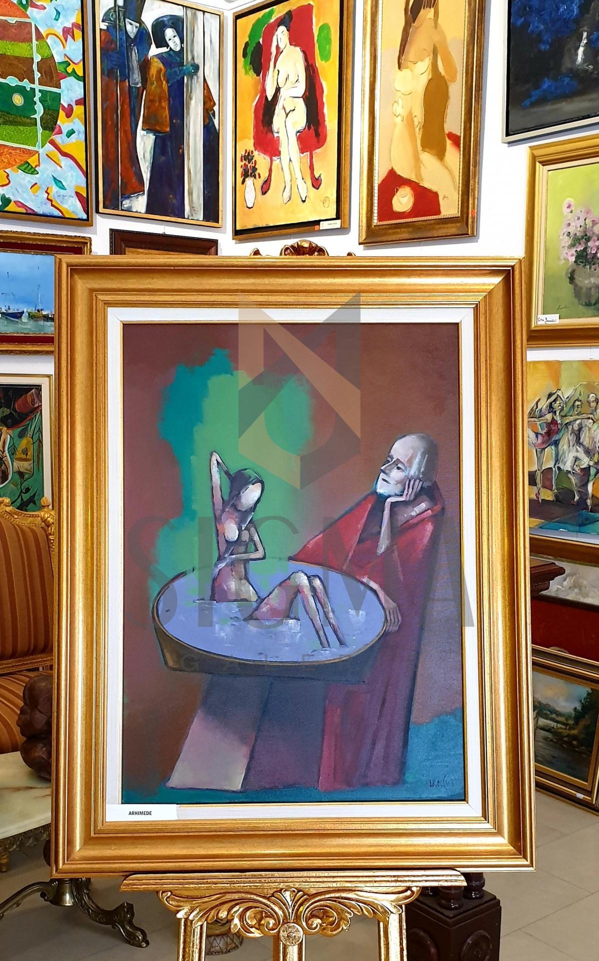 "Tablou, Ion Iancut, ""Arhimede"", ulei pe panza, 70x50 cm"