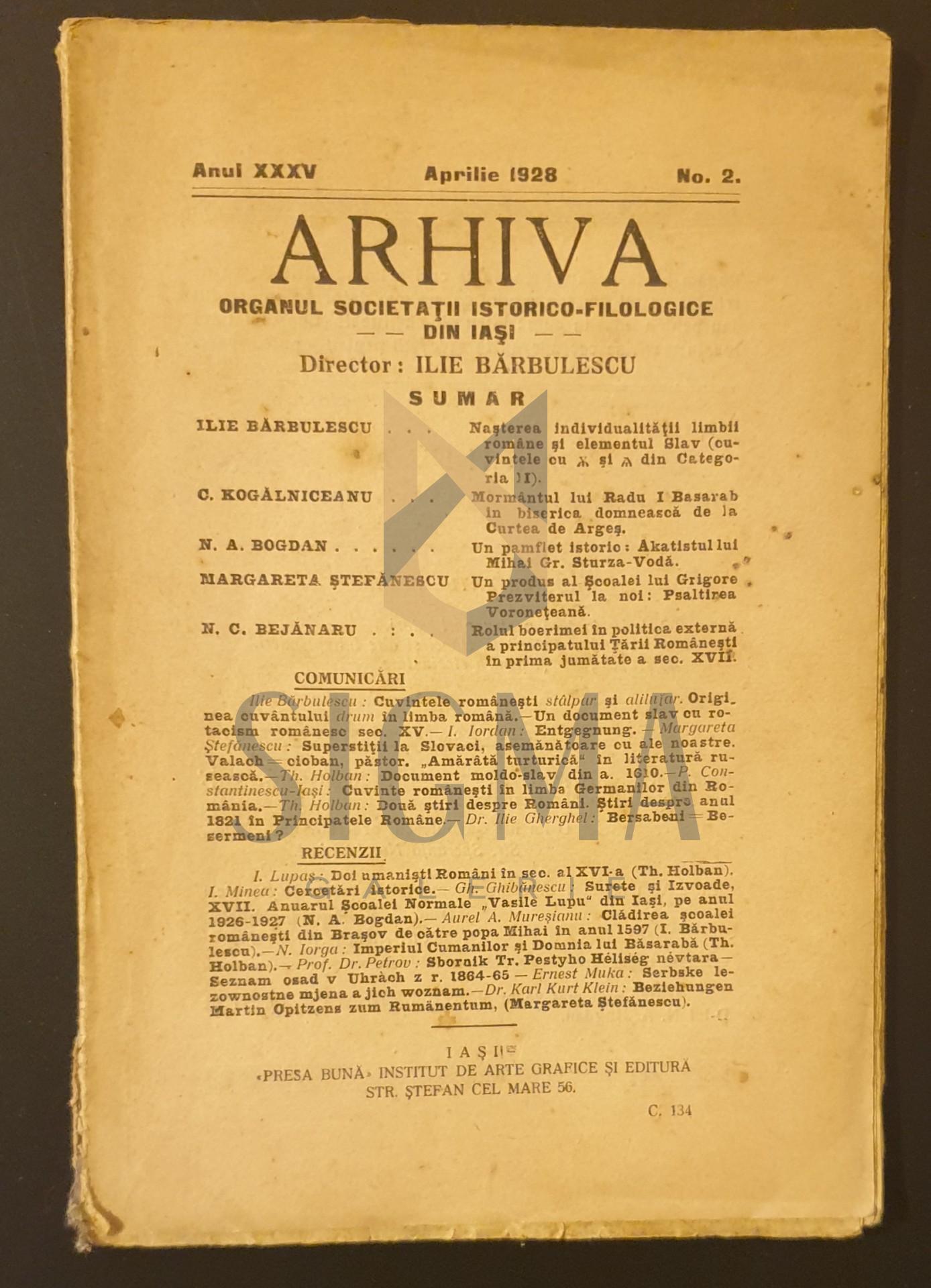 Arhiva organului societatii istorico-filozofice din Iasi