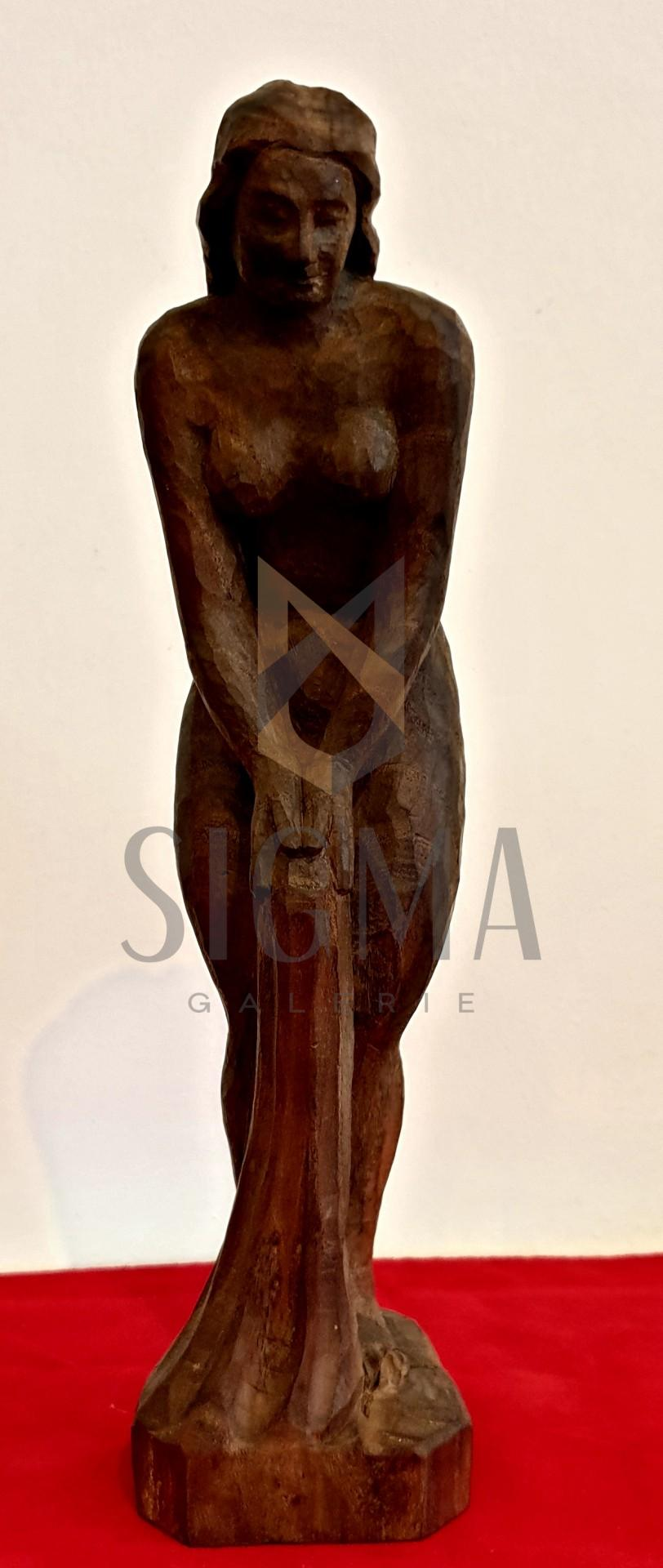 "Sculptura din lemn, ""Nud feminin"", semnat indescifrabil, H 30x8x8 cm"