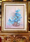 """Tablou, Ovidiu Puscasiu, """"Flori de maci, albastre"""", ulei pe panza, dimensiuni: 30X24 cm, datat 2019"""