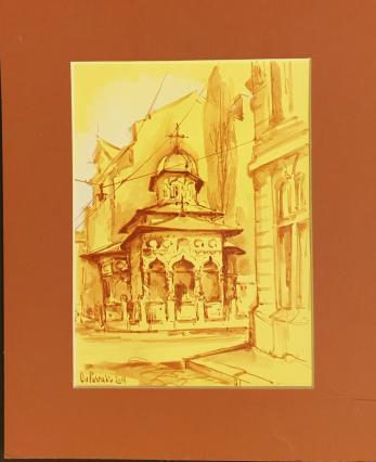"""Tablou, Ovidiu Puscasiu,""""Biserica Stavropoleos"""", tehnica mixta, dim: 24X18 cm"""
