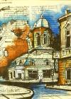 "Tablou, Ovidiu Puscasiu, ""Biserica Batistei"", tehnica mixta pe ziar, dim. 20X20 cm, datat 2019"