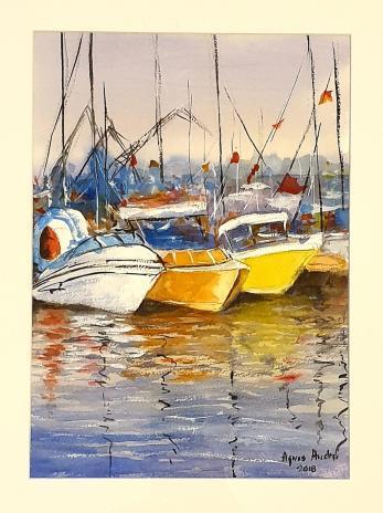 "Tablou, Agnes Andrei, ""Port"", acuarela, dim:35x25 cm, datata 2018"