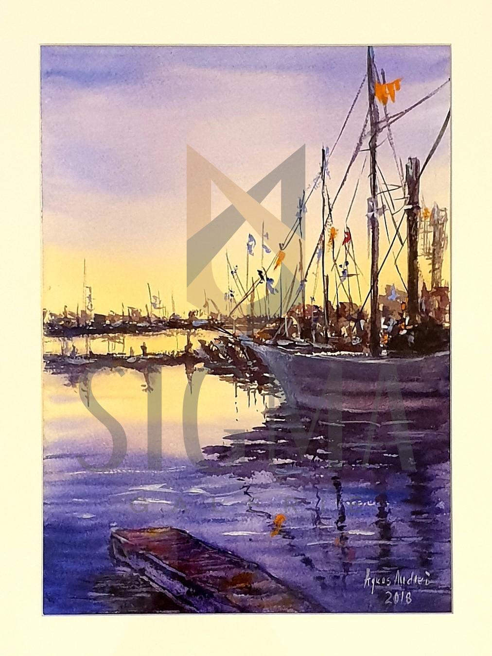 """Tablou, Agnes Andrei, """"Peisaj marin * Port"""", acuarela, dim:35x25 cm, datata 2018"""