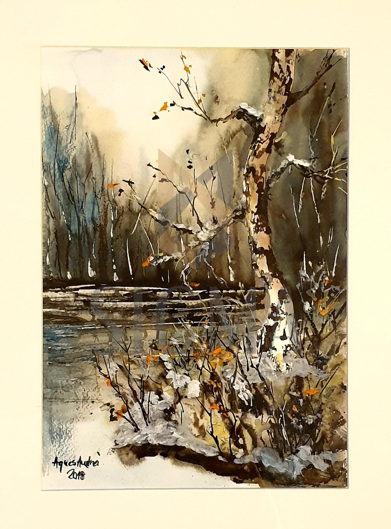 """Tablou, Agnes Andrei, """"Peisaj in padure"""", acuarela, dim:33x23 cm, datata 2018"""