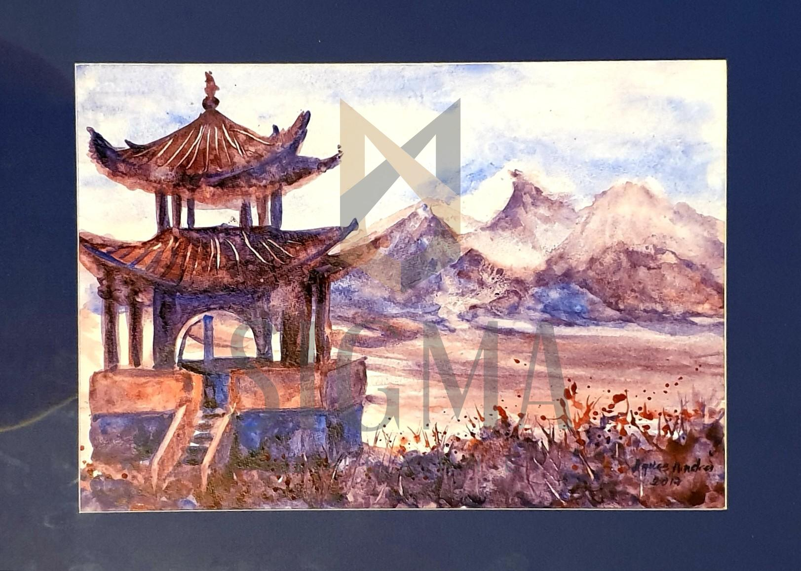 "Tablou, Agnes Andrei, ""Fragment din China"", acuarela, dim:23x33 cm, datata 2017"