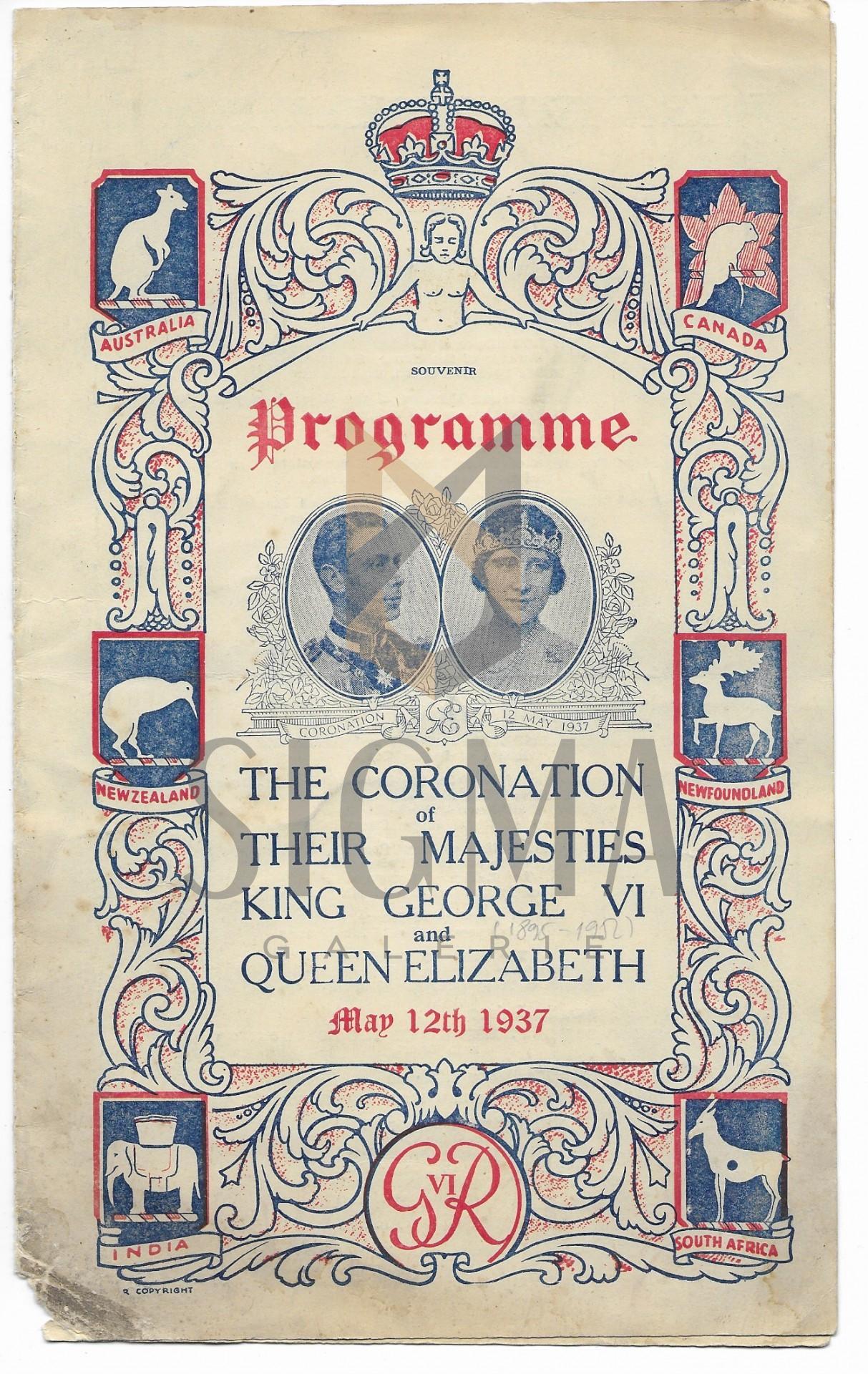 PROGRAM, INCORONAREA MAJESTATII SALE REGELE GEORGE al VI-lea SI REGINA ELISABETA A ANGLIEI, 1937