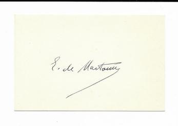 CARTE DE VIZITA, EMMANUEL DE MARTONNE , scris olograf