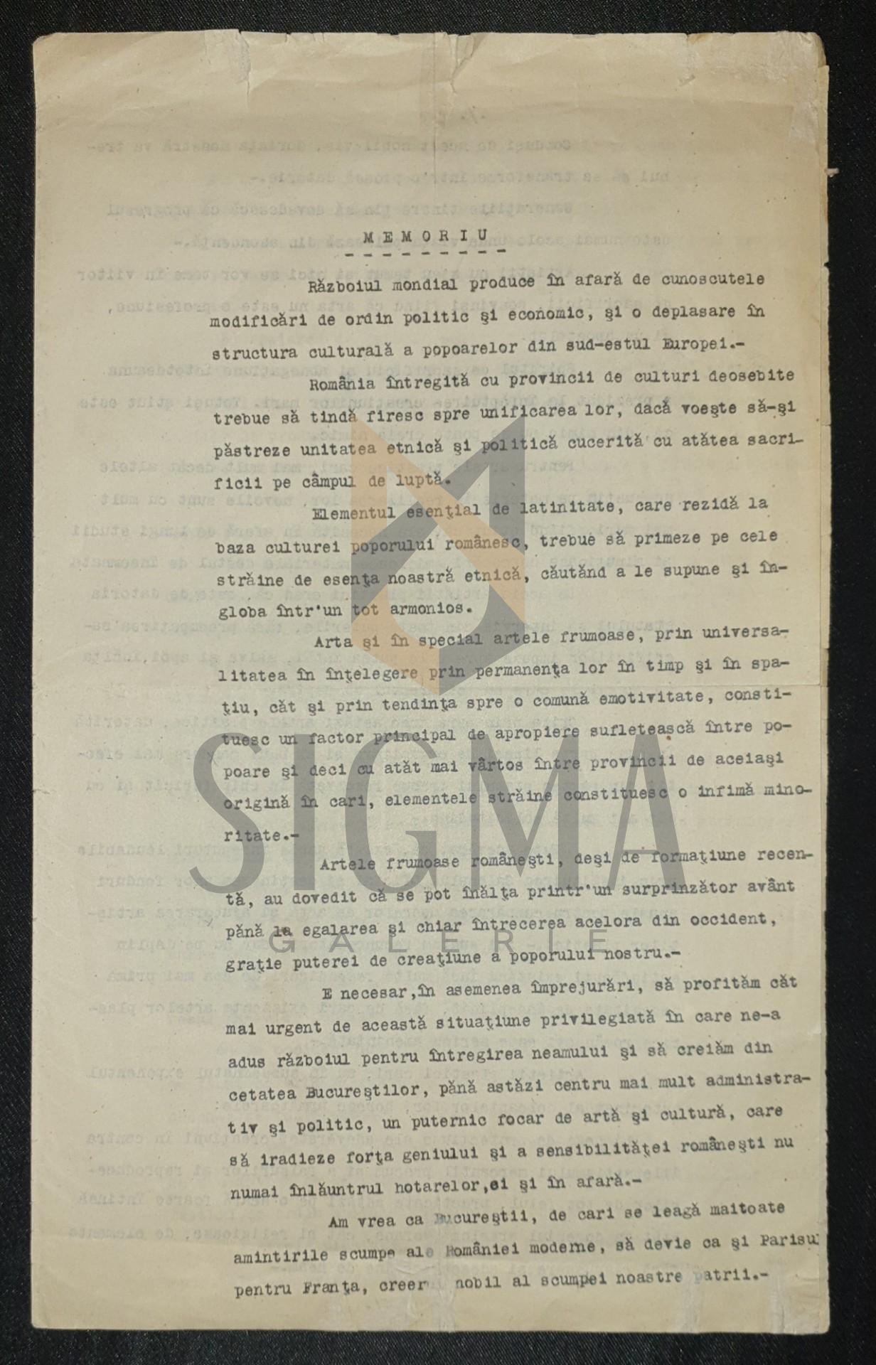 DOCUMENT, MEMORIU- CRIZA ARTEI ROMANESTI DUPA RAZBOI,  PICTORUL CORNELIU MICHAILESCU