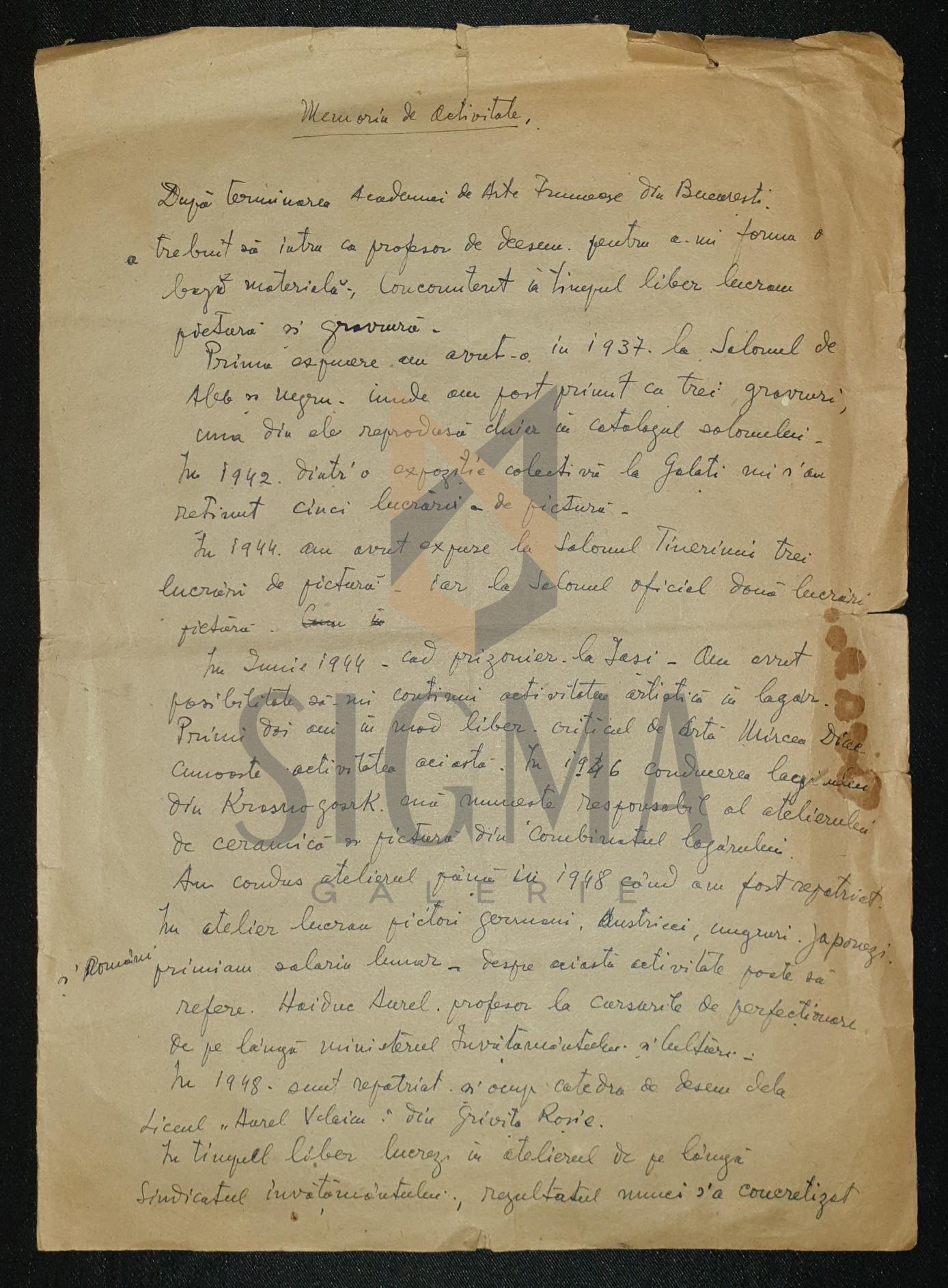 ION POPESCU - NEGRENI, MEMORIU DE ACTIVITATE - document olograf