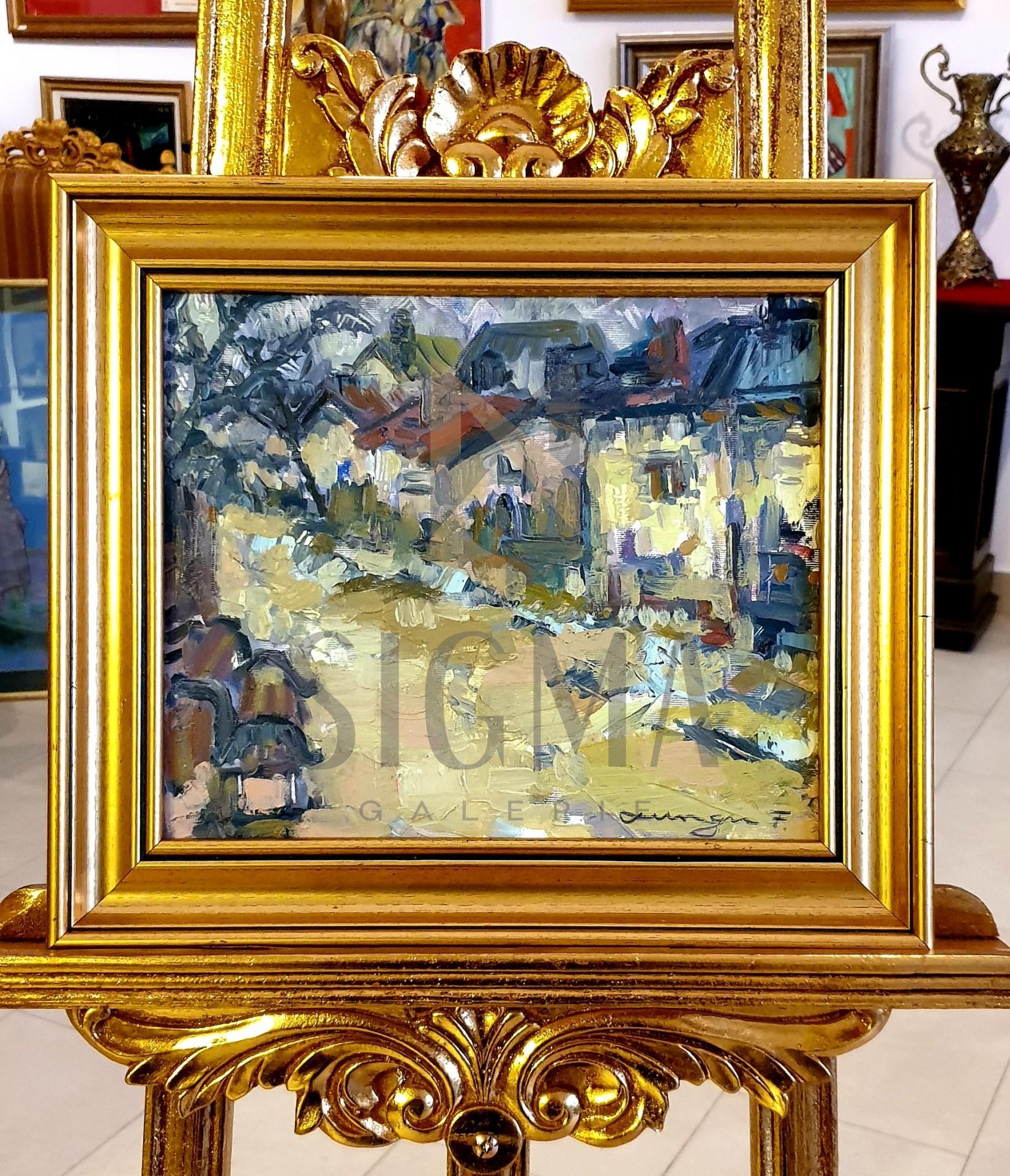 "Tablou, Florin Lungu, ""Case la Cluj"", ulei pe panza, 25x30 cm, datat 2017"