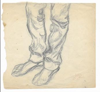 PAUL GHERASIM , TARAN - studiu in creion