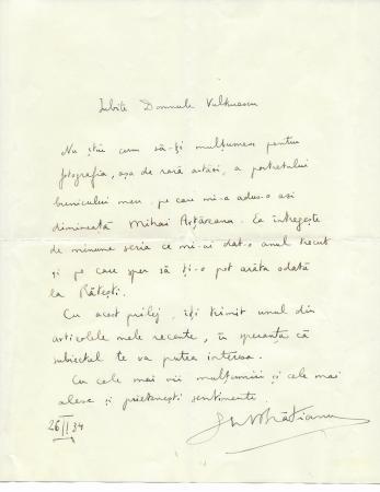 SCRISOARE , GHE. I. BRATIANU - istoric, CATRE Colonel. VULTURESCU, 1934