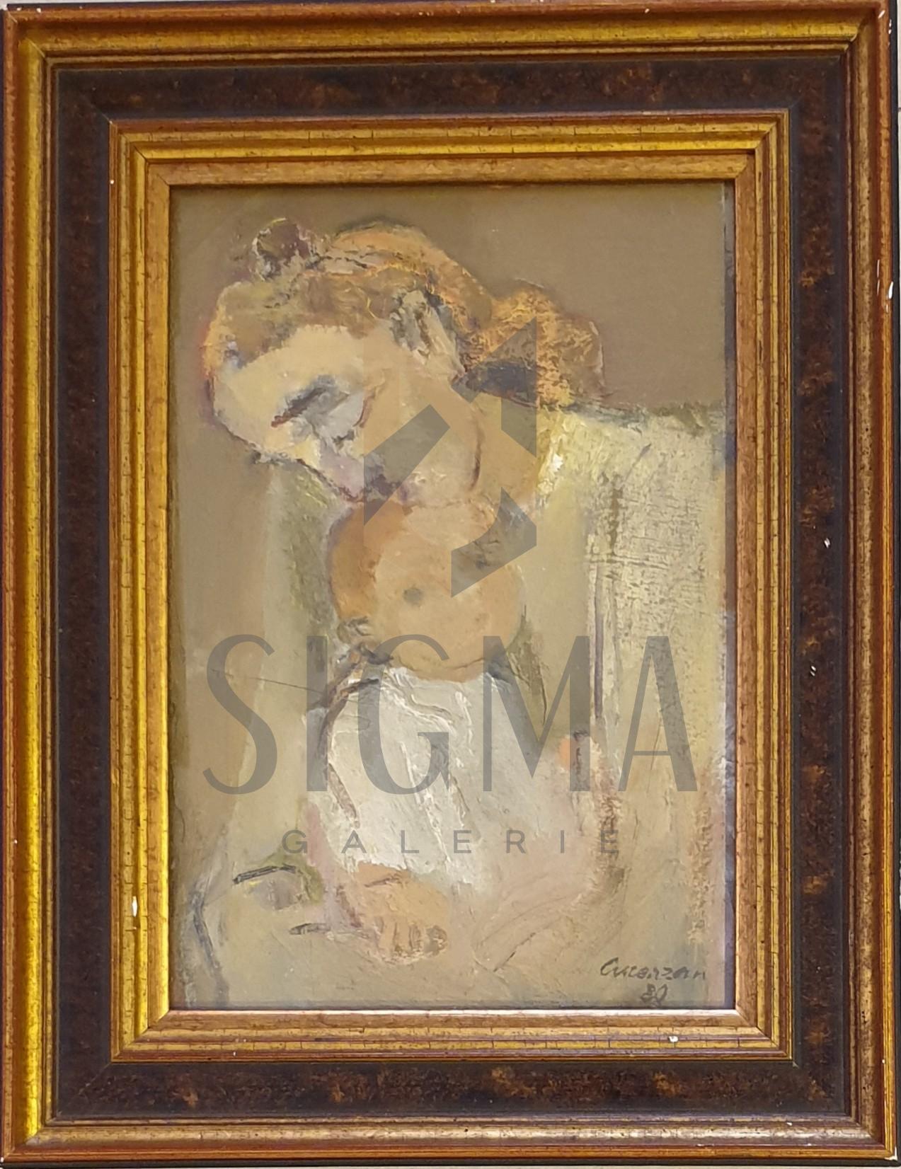 """Tablou, Horia Cucerzan, """"Maternitate"""", ulei pe carton, dimensiuni 26,5x18,5 cm, 1980"""