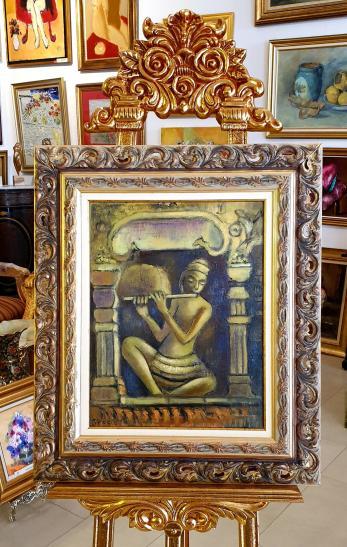 """Tablou, Teodor Vescu, """"Muzicantul"""", Cambodgia, ulei pe panza, dim: 45x35 cm,"""