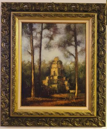 """Tablou, Teodor Vescu, """"Templu din Camdbogia"""", ulei pe panza, dim:45x35  cm,"""