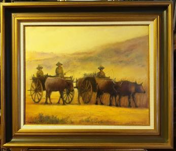 """Tablou, Teodor Vescu, """"Fermieri din Thailanda"""", ulei pe panza, dim:40x50  cm,"""