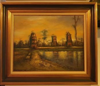 """Tablou, Teodor Vescu, """"Ruine in Cambodgia"""", ulei pe panza, dim:40x50  cm,"""