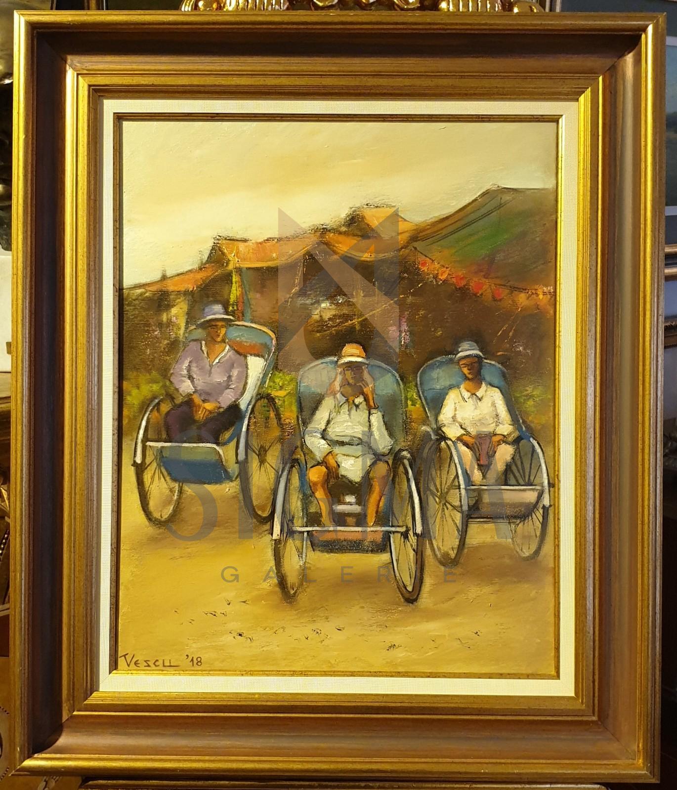 """Tablou, Teodor Vescu, """"Riese din Phnom Penh, Cambodgia"""", ulei pe panza, dim:50x40  cm,"""