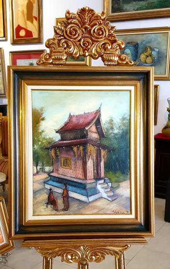 """Tablou, Teodor Vescu, """"Templu in Laos"""", ulei pe panza, dim:50x40  cm,"""