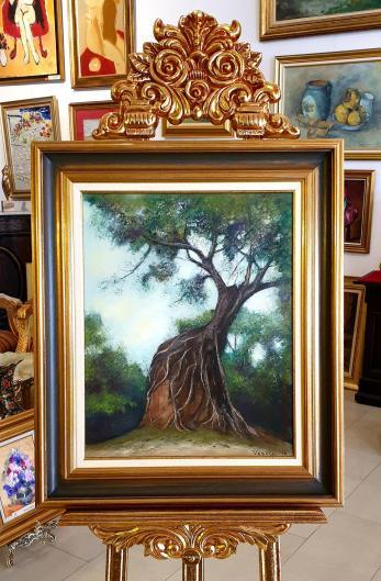 """Tablou, Teodor Vescu, """"Copac peste templu, Cambodgia"""", ulei pe panza, dim: 50x40  cm,"""