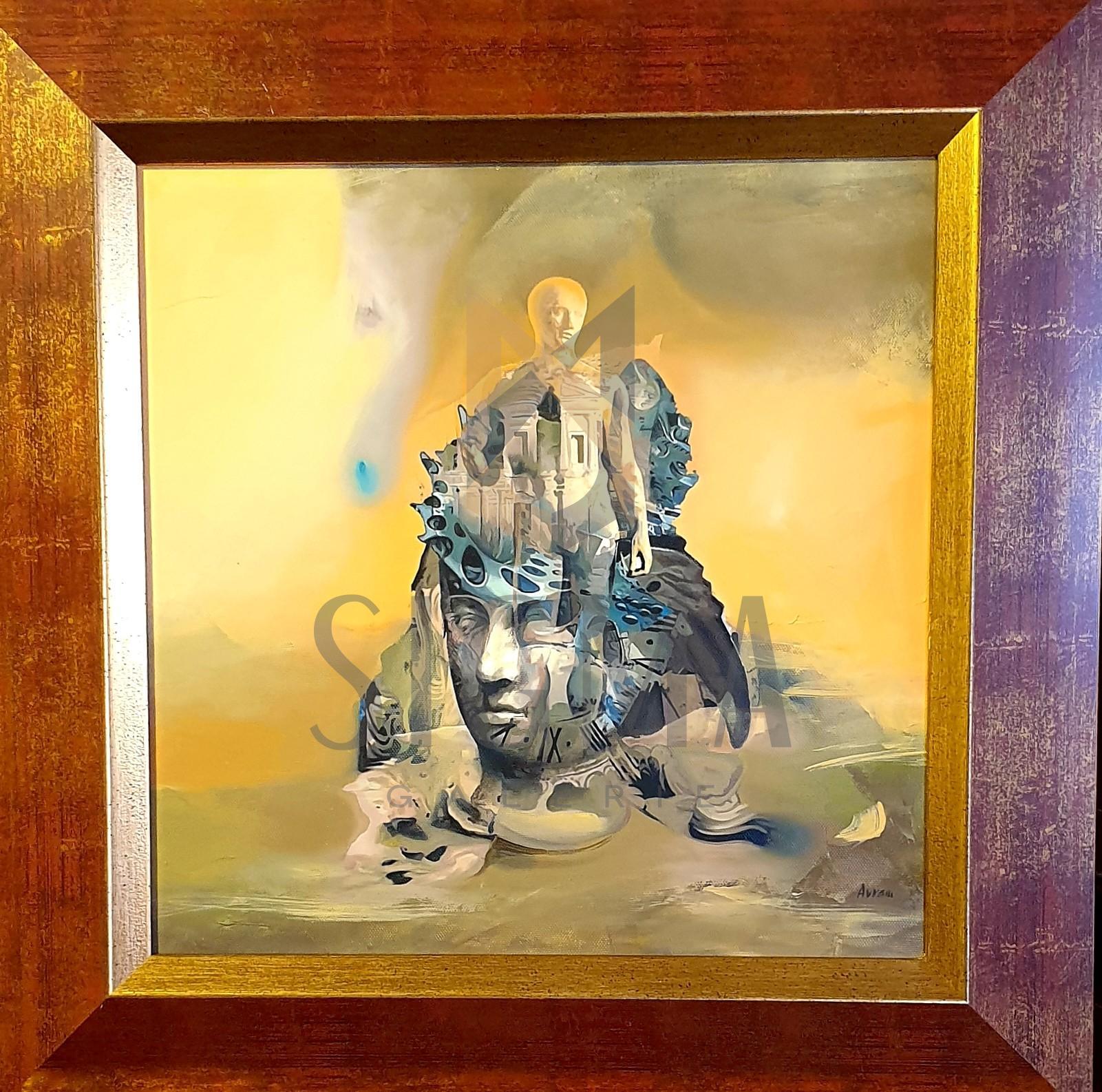 "TABLOU, OVIDIU AVRAM  "" Compozitie - Timpul "", u/p, 35 x 35 cm"