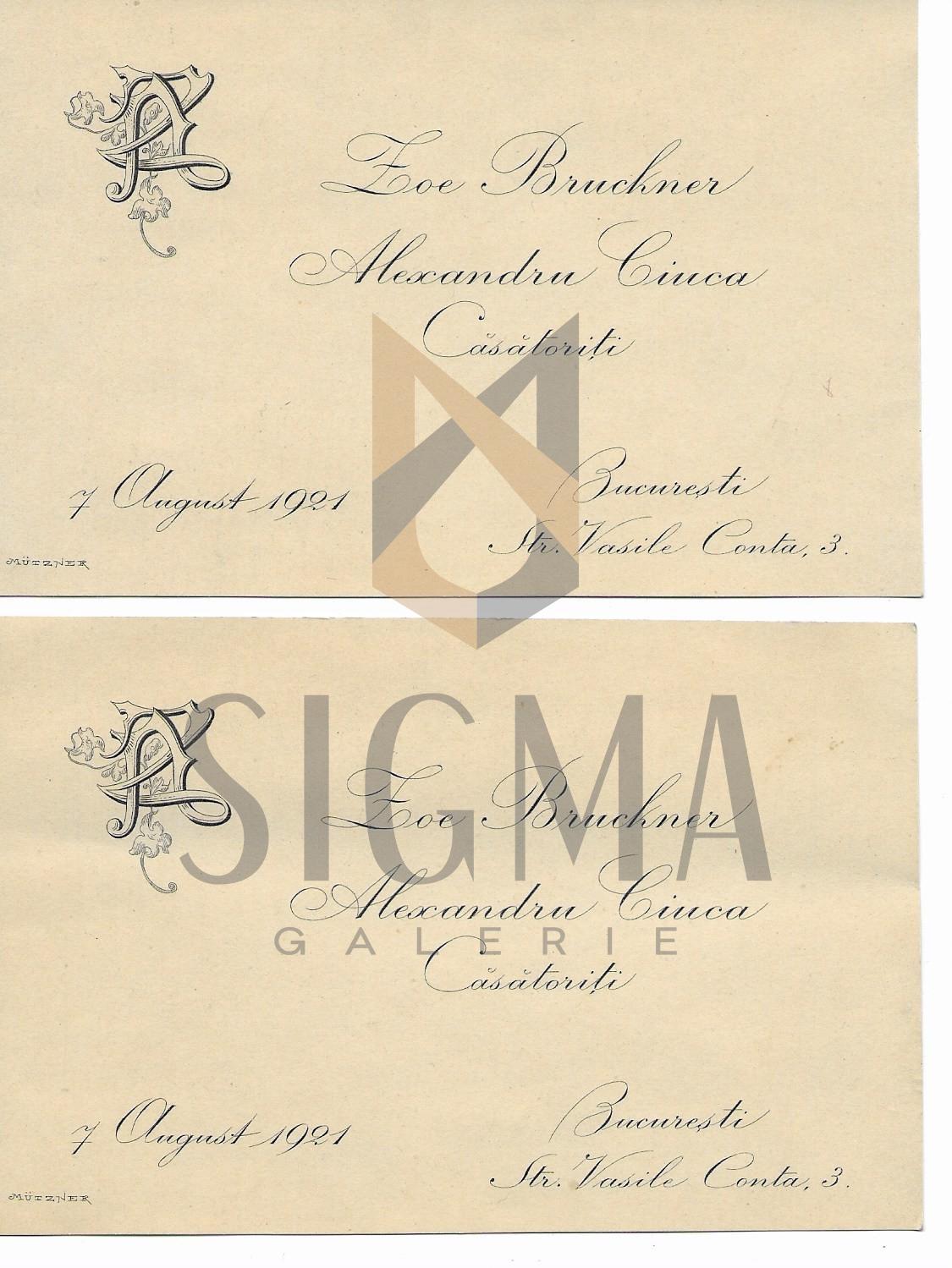 INVITATII DE NUNTA, GRAFICA EXECUTATA DE PICTORUL S. MUTZNER, 1921