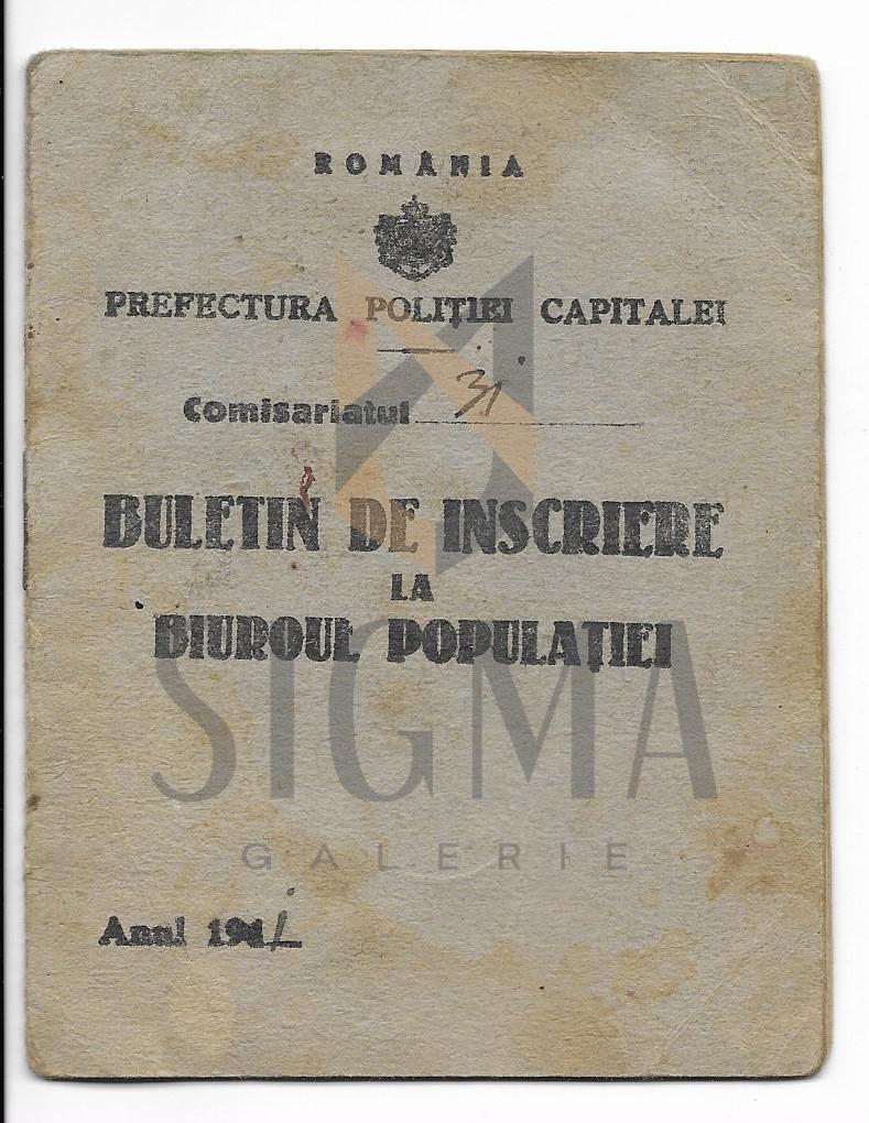 PREFECTURA POLITIEI CAPITALEI, BULETIN DE INSCRIERE LA BIROUL POPULATIEI, 1941