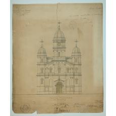 "PROIECT - SCHITA,  ARHITECTURA ,  PENTRU CONSTRUIREA BISERICII "" SFANTA TREIME "" FATA PRINCIPALA , CORABIA, 1894"