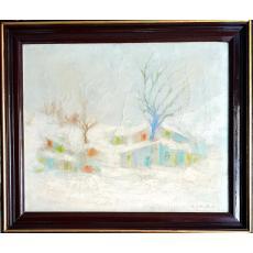 """Tablou, Constantin Gheorghe, """"Peisaj de iarna"""", ulei pe pânză, dimensiuni: 42x52 cm, datat 1976"""