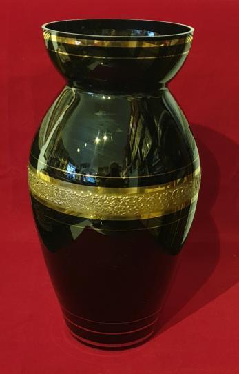 Vas pentru flori, portelan negru decorat cu aur coloidal