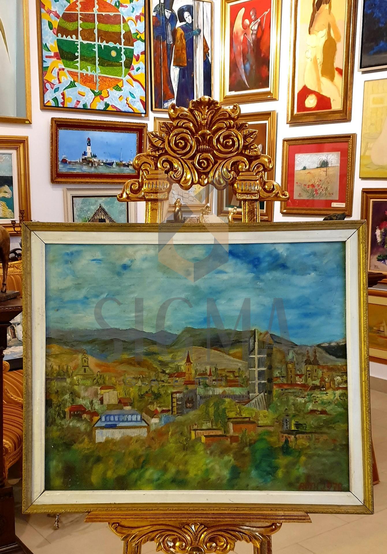 """Tablou, Roth Ioan, """"Peisaj din Baia Mare"""", ulei pe panza, 56x68 cm"""