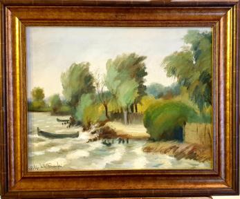 "Tablou, Filip Ivli Timofei, ""Peisaj din Delta Dunarii"", ulei pe panza, 36x45 cm"