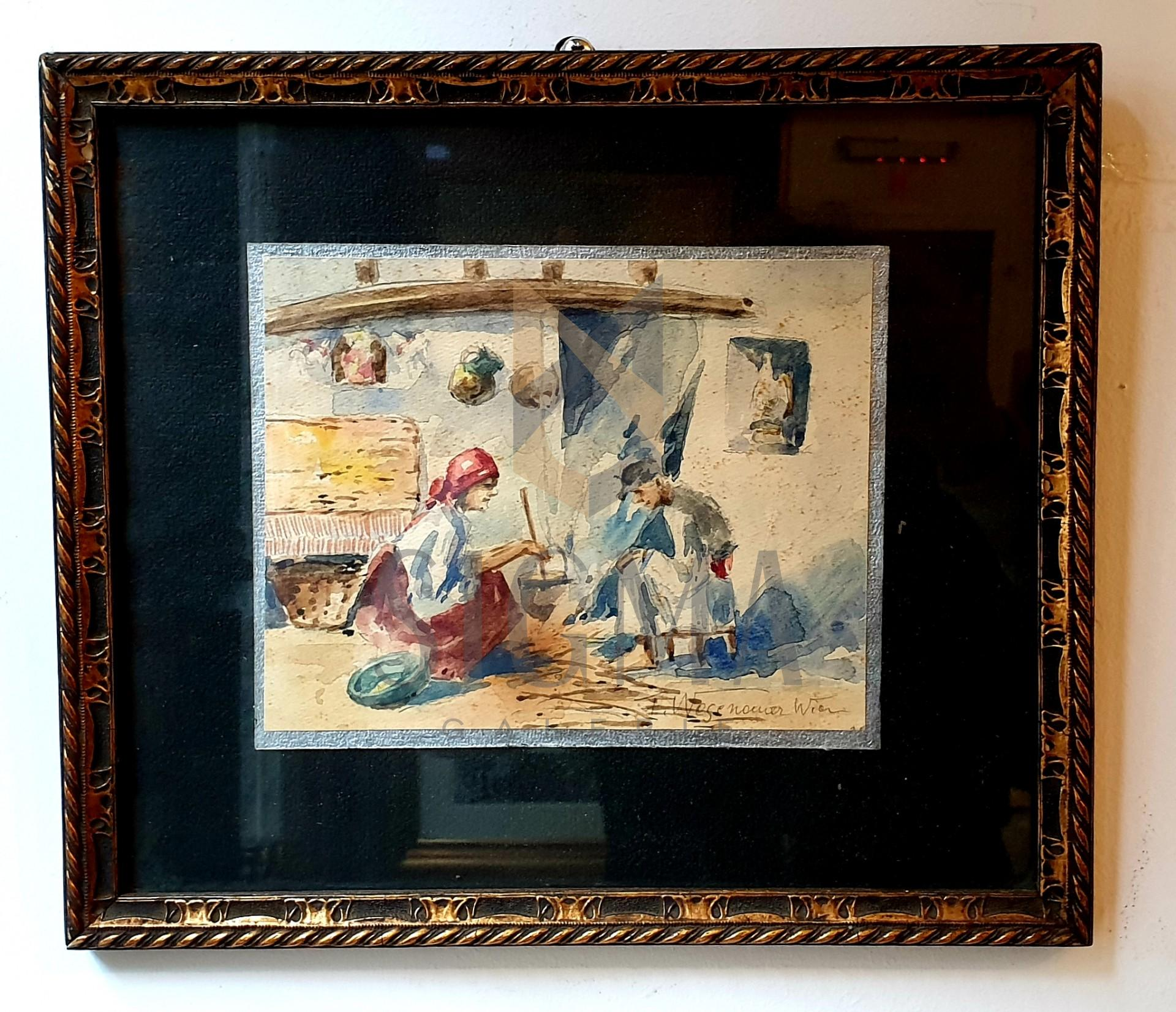 """Tablou, autor neidentificat, ( F. Wegenamer Wion...? ) """"Odaia bunicilor"""" acuarela pe carton subtire, dimensiuni 14x18 cm"""