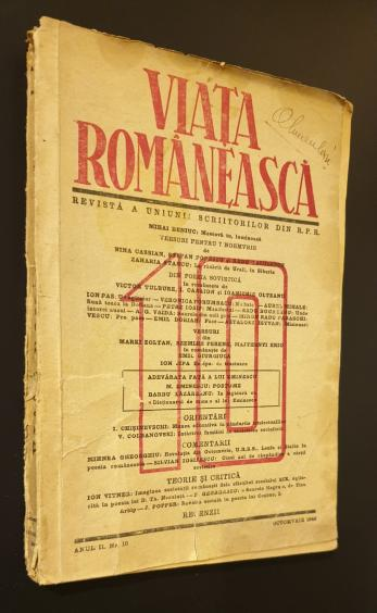 Viata romaneasca, Revista a uniunii scriitorilor din R. S. R., Octombrie 1949