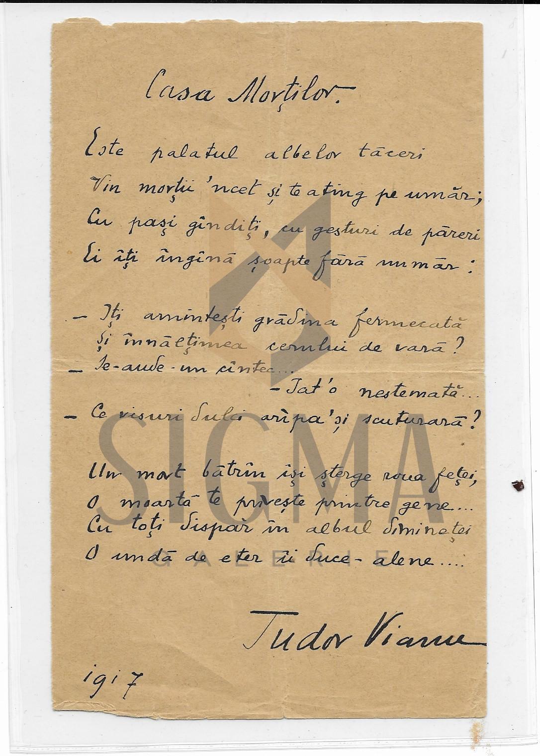 TUDOR VIANU, CASA MORTILOR, poezie manuscris, 1917