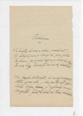 "ION PILLAT, "" FURNICA "" , poezie manuscris, 2 pag"