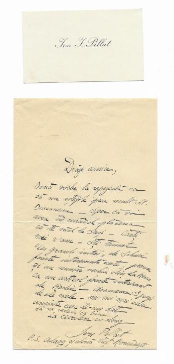 ION PILLAT, SCRISOARE + CARTE DE VIZITA