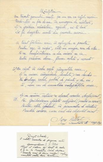 """ION PILLAT, """" MANASTIRE """" poezie - manuscris + 1 Carte de Vizita, 1917"""