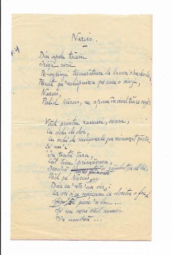"ION PILLAT, "" NARCIS "" , POEZIE MANUSCRIS, IASI, 1917"