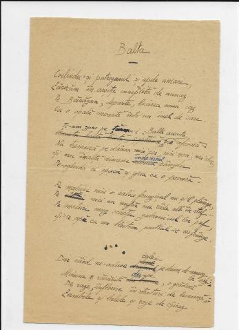 """ION PILLAT, """" BALTA """" , POEZIE MANUSCRIS, Iasi 1917"""