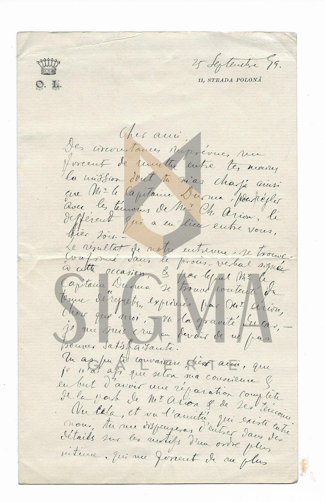 OCTAVIAN GEORGE LECCA, SCRISOARE CU MONOGRAMA, 1899